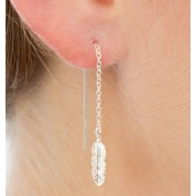 Feather Sterling Silver Threader Earrings