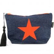LTLBAG-Denim Neon Orange Star