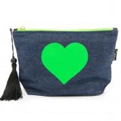 LTLBAG-Denim Neon Green Heart