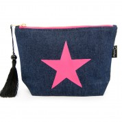 LTLBAG-Denim Neon Pink Star