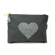 LTLBAG-Grey Rhinestone Heart Large