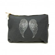 LTLBAG-Grey Rhinestone Angel Wings Large