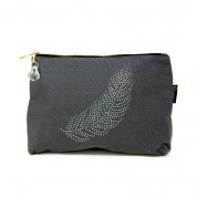 LTLBAG-Grey Rhinestone Feather Large