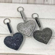 Large Puffed Heart Sparkly Keyring Bag Tag