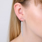 Circle And Sparkle Drop Earrings