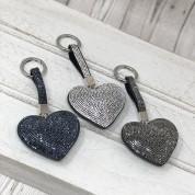 Puffed Heart Bag Tag With Rhinestones