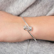 Double Love and Friendship Knot Silver Bangle