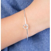 Friendship Knot Wire Silver Bangle