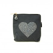 LTLBAG-Grey Rhinestone Heart Small