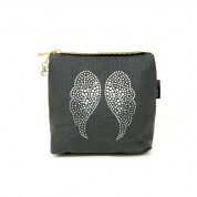 LTLBAG-Grey Rhinestone Angel Wings Small