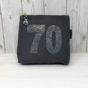 Grey Rhinestone 70th Birthday Bag