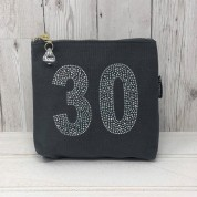 Grey Rhinestone 30th Birthday Bag