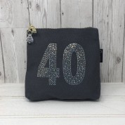 Grey Rhinestone 40th Birthday Bag