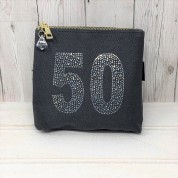 Grey Rhinestone 50th Birthday Bag
