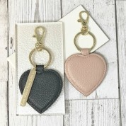 Personalised Faux Leather Heart Keyring