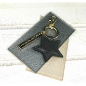 Personalised Faux Leather Star Keyring