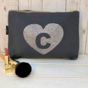 Grey Sparkly Initial Make-Up Bag