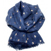 Scarf-Denim Blue Bee RG Foil