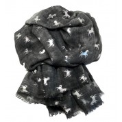 Scarf-Charcoal Horse SIL Foil