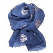 Scarf-Denim Blue Mulberry RG Foil