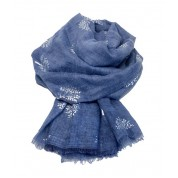Scarf-Denim Blue Mulberry SIL Foil