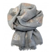 Scarf-Silver Grey Mulberry RG Foil