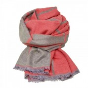 Checked Reversible Blanket Scarf Coral/Beige