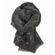 Scarf-Charcoal Grey Rose Gold Hearts