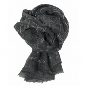 Scarf-Charcoal Grey Silver Hearts