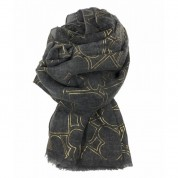 Scarf-Charcoal Grey Yellow Gold Hearts