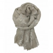 Scarf-Cream Silver Hearts