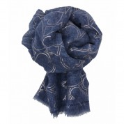 Scarf-Denim Blue Rose Gold Hearts