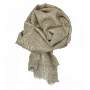Scarf-Cream Yellow Gold Leaves
