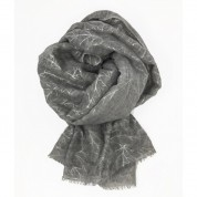 Scarf-Silver Grey Silver Leaves