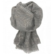 Scarf-Silver Grey Rose Gold Leaves