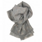 Scarf-Silver Grey Rose Gold Hearts
