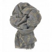 Scarf-Silver Grey Yellow Gold Hearts