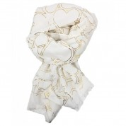 Scarf-White Yellow Gold Hearts
