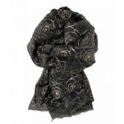 Scarf-Charcoal Grey Rose Gold Roses