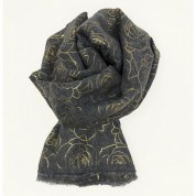 Scarf-Charcoal Grey Yellow Gold Roses