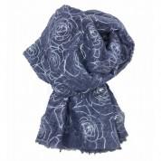 Scarf-Denim Blue Silver Roses