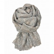 Scarf-Silver Grey Rose Gold Roses