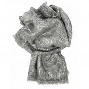 Scarf-Silver Grey Silver Roses