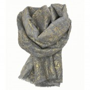 Scarf-Silver Grey Yellow Gold Roses
