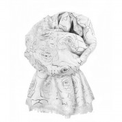 Scarf-White Silver Roses