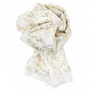 Scarf-White Yellow Gold Roses