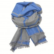 Checked Reversible Blanket Scarf Blue/Grey