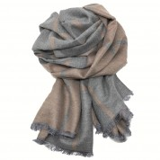 Checked Reversible Blanket Scarf Beige/Grey