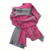 Checked Reversible Blanket Scarf Cerise/Grey