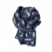 Scarf-Denim Blue Feather